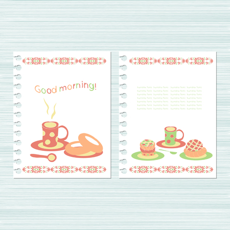 Good morning!. Template. Cup on a white background. Set. Doodle, sketch Illustration
