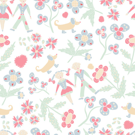Beautiful, funny wallpapers. Children, flowers. Seamless. Sketch.