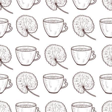 Gotu kola. Leaves, tea. Background, wallpaper, seamless. Sketch. Monochrome. Pattern, texture. Иллюстрация