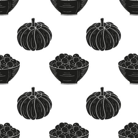 Garcinia. Fetus, bowl. Background, wallpaper, seamless, texture. Black silhouette on white background.
