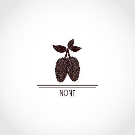 Noni. Fruit, leaves.  Black silhouette. Illustration
