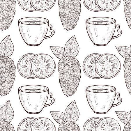 Noni. Fruit, leaves, tea. Sketch. Texture, wallpaper, seamless, background. Monophonic. Illustration