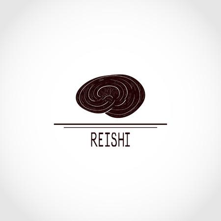 Reishi. Mushroom. Black silhouette.