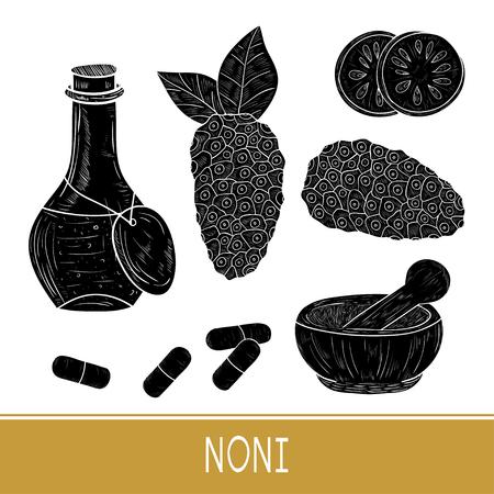 Noni. Fruit, leaves. Mortar, bottle, pill. Silhouette. Set. Monophonic. Illustration
