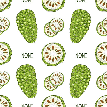 Noni. Fruit, leaves, text. Sketch. Texture, wallpaper, seamless, background. Color Illustration