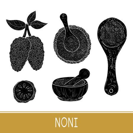 Noni. Fruit, leaves, powder. Set. Black silhouette. Illustration