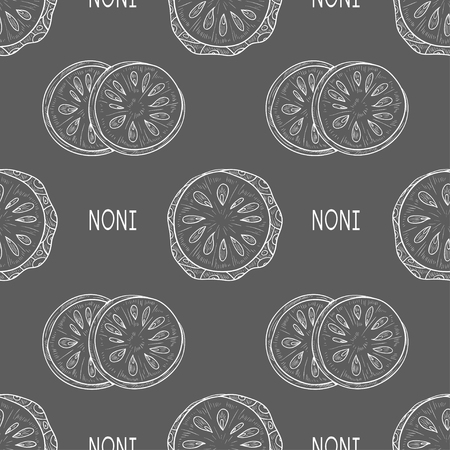 Noni. Fruit, leaves. Sketch. Texture, wallpaper, seamless, background. Gray background, white image.