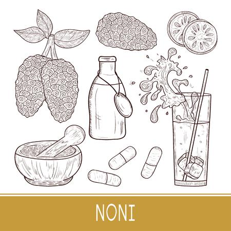Noni. Fruit, leaves. Sketch. Mortar, flock, pill, glass of juice. Set. Monophonic.