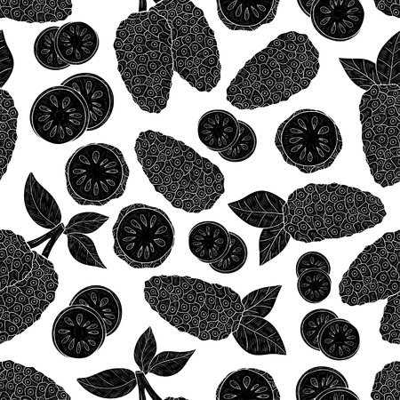 Noni. Fruit, leaves. Texture, wallpaper, seamless, background. Black silhouette.