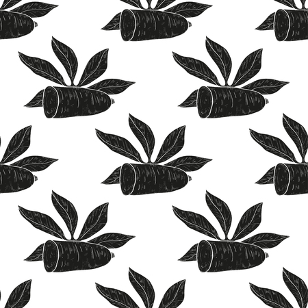 Cassava. Leaves, root. Background, wallpaper, texture, seamless. Black silhouette.