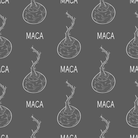 Maca. Sketch. Wallpaper, texture, seamless. Gray background.