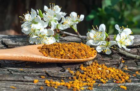 Pollen in einem Holzlöffel Standard-Bild - 57351449
