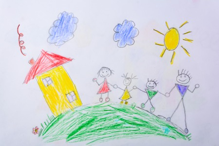 Childrens drawing My Happy Family . The concept of child psychology. Stock Photo