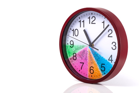 Time management concept: Round clock with a colored dial and action plan for a day on a white background. Stockfoto
