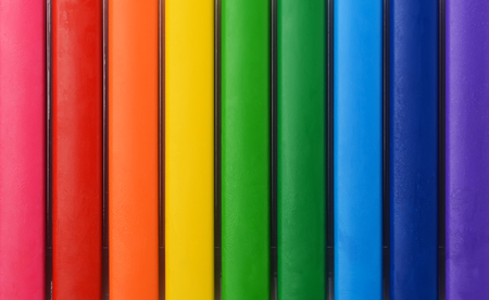 Abstract composition of a set colour pencils. Abstract color background with parallel lines of different colors