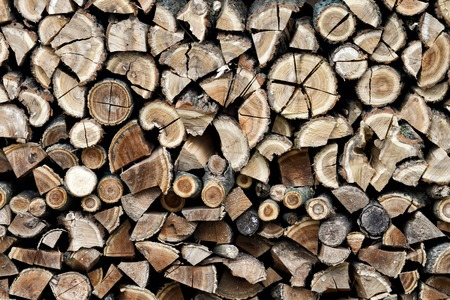 Chopped firewood background, Firewood stack for fire.