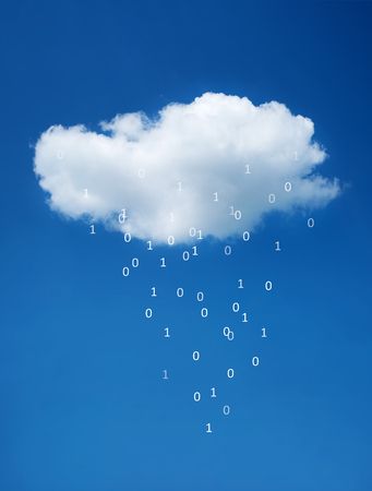 White cloud on blue sky. The concept of cloud technologies.