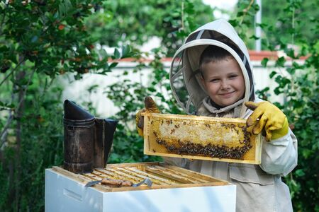Cheerful boy beekeeper in protective suit near beehive. Honeycomb with honey. Organic food concept. The most useful organic honey.