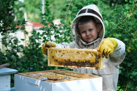 Cheerful boy beekeeper in protective suit near beehive. Honeycomb with honey. Organic food concept. The most useful organic honey. Attracting children to beekeeping. Reklamní fotografie