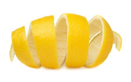 Lemon peel isolated on a white background. Use of lemon peel in cooking and medicine. Reklamní fotografie