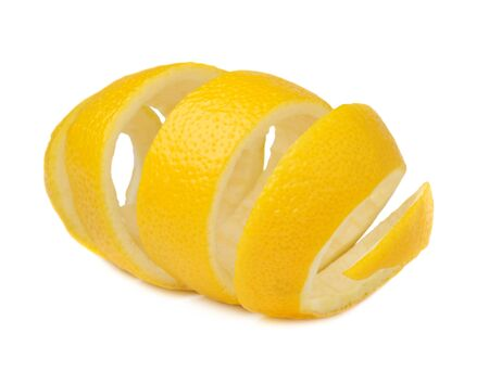 Lemon peel isolated on a white background. Use of lemon peel in cooking and medicine