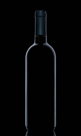 Wine Bottle on dark background. Outlines of wine bottle on black background.