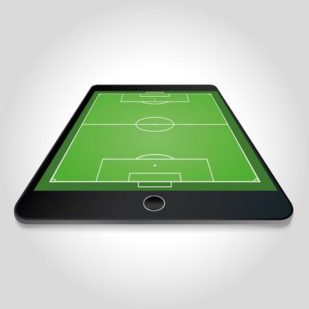 soccer field: Soccer field on tablet screen - vector Illustration