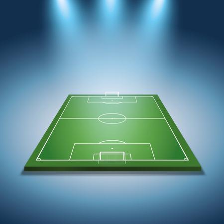 faretti luminosi illuminati campo di calcio - Vector
