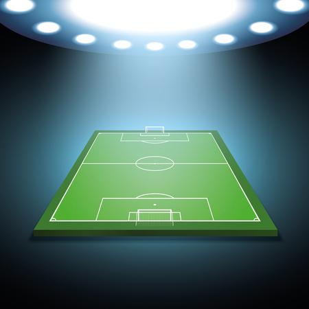 soccer field: Bright spotlights illuminated soccer field - Vector Illustration