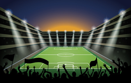 soccer stadium crowd: Excited crowd of people at a soccer stadium. Illustration