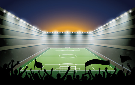 footy: Excited crowd of people at a soccer stadium. Illustration