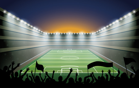 soccer stadium: Excited crowd of people at a soccer stadium. Illustration