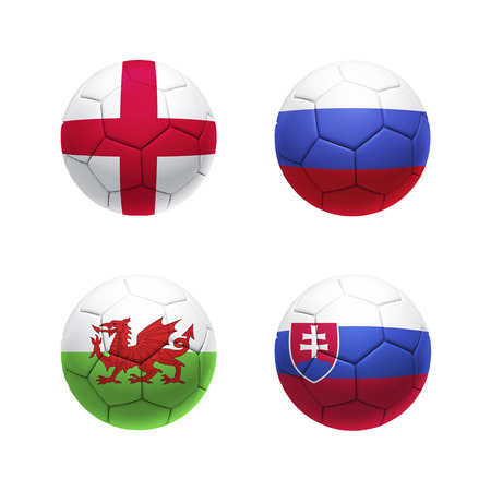group b: 3D soccer balls with group B teams flags.