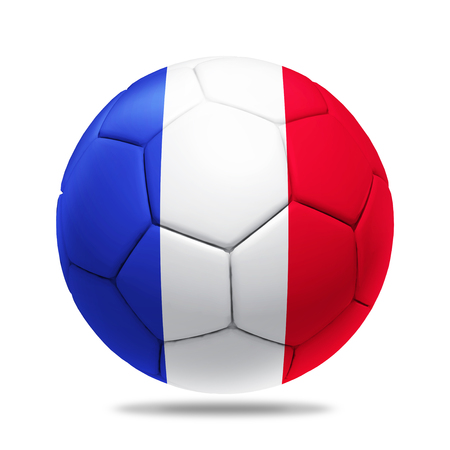 flag france: 3D soccer ball with France team flag. Stock Photo