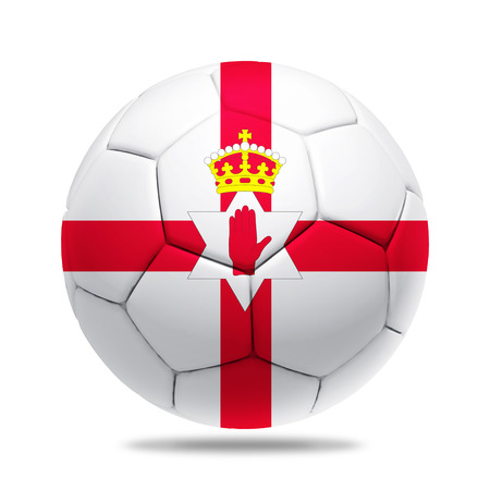 northern ireland: 3D soccer ball with Northern Ireland team flag.
