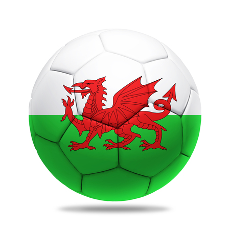 wales: 3D soccer ball with Wales team flag,