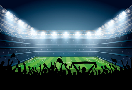 grandstand: Excited crowd of people at a soccer stadium. Football stadium. Soccer arena. Illustration