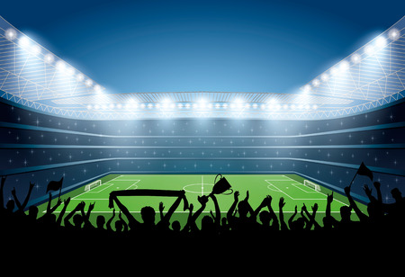 Excited crowd of people at a soccer stadium. Football stadium. Soccer arena. Vectores
