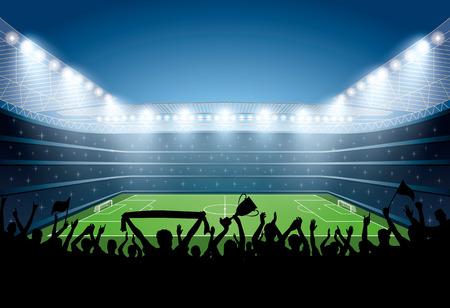 Podekscytowany tłum ludzi na stadionie piłkarskim. Stadion piłkarski. Arena piłkarska.