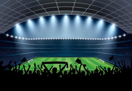Opgewonden menigte van mensen op een voetbalstadion. Voetbalstadion. Soccer arena. Vector Illustratie