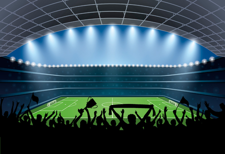 overjoyed: Excited crowd of people at a soccer stadium. Football stadium. Soccer arena. Illustration