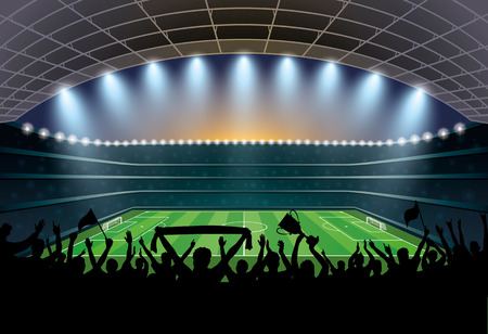 Excited crowd of people at a soccer stadium. Football stadium. Soccer arena. Illustration