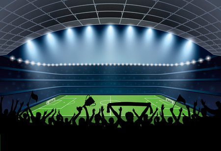 soccer stadium crowd: Excited crowd of people at a soccer stadium. Football stadium. Soccer arena. Illustration