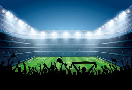 Excited crowd of people at a soccer stadium. Football stadium. Soccer arena. Vektorové ilustrace