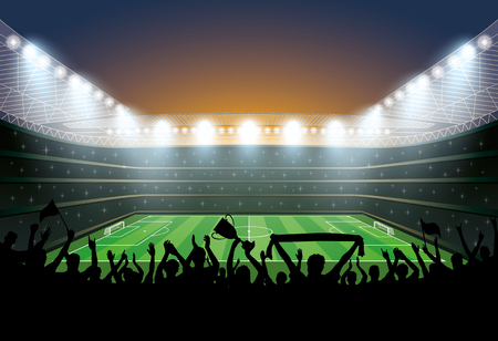 footy: Excited crowd of people at a soccer stadium. Football stadium. Soccer arena. Illustration