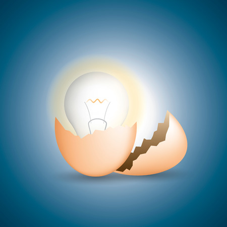 constraints: cracked egg and get light bulb, idea and business concept. vector illustration. Illustration