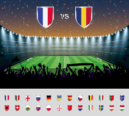 Soccer match France 2016 with excited crowd of people at a soccer stadium. Soccer arena.vector illustration.