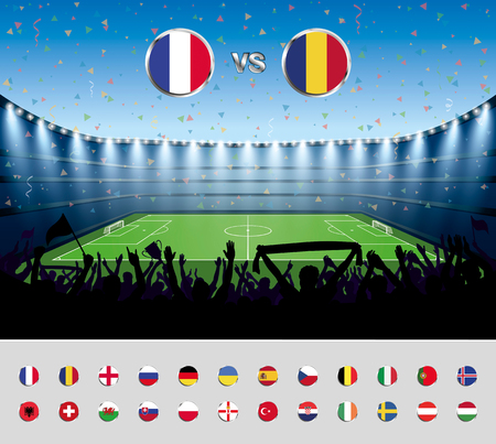 soccer stadium crowd: Soccer match France 2016 with excited crowd of people at a soccer stadium. Soccer arena.vector illustration.