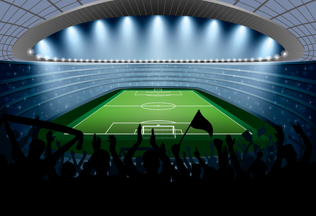 football stadium: Excited crowd of people at a soccer stadium. Football stadium. Soccer arena. Illustration