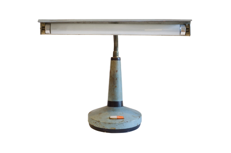 arredamento classico: Old metal table-lamp isolated on white background.